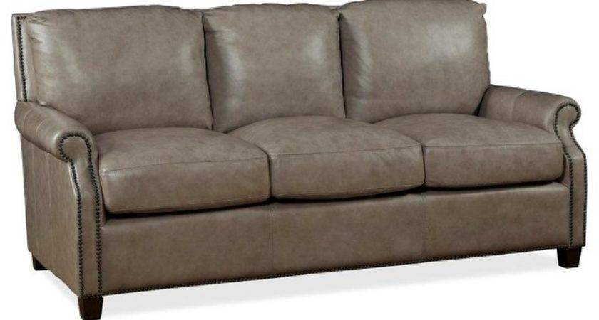Kingston Leather Sofa Light Gray Transitional Sofas