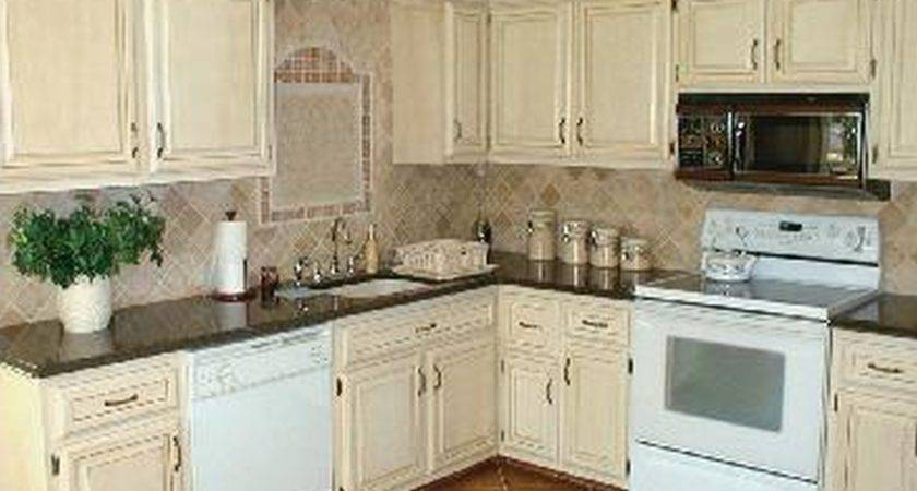 Kitchen Antique White Cabinets Rustic