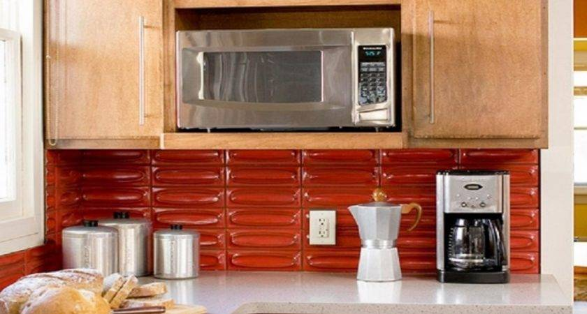 Kitchen Decorating Ideas Red Accents Subway Tile