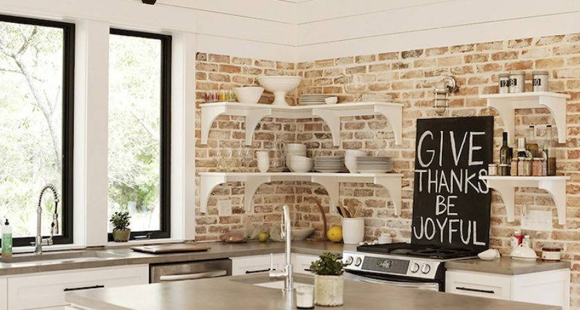 Kitchen Exposed Brick Wall Cottage