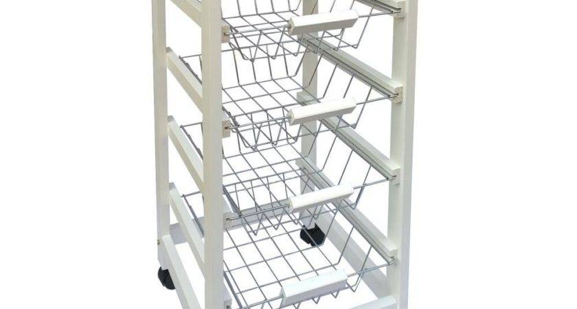 Kitchen Trolley Cart Tier Storage Baskets Drawer White