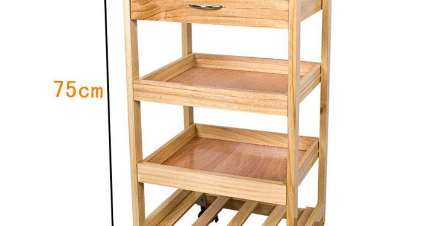 Kitchen Trolley Shelves Drawer Storage Wooden