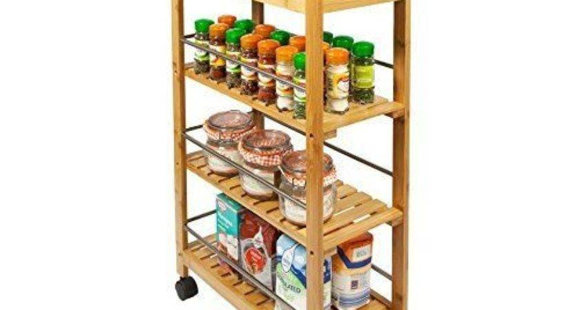 Kitchen Trolley Wooden Cart Bamboo Storage Rack Island