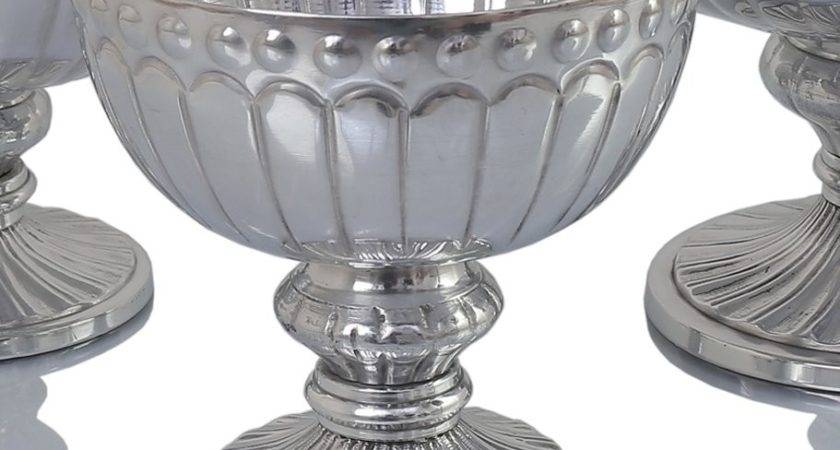 Koyal Wholesale Silver Flower Compote Vase Pedestal Bowl