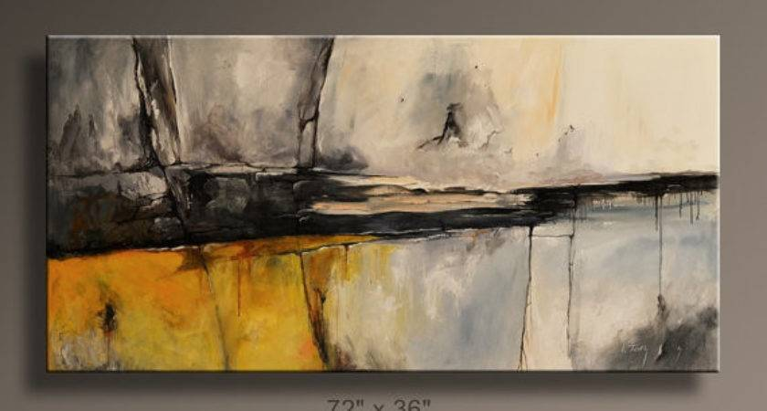 Large Abstract Painting Yellow Gray Black White Itarts