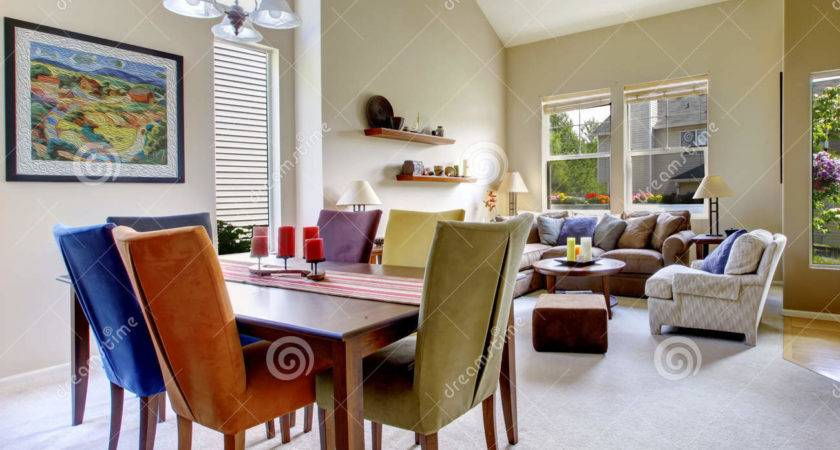 Large Beige Bright Living Room Dining Table