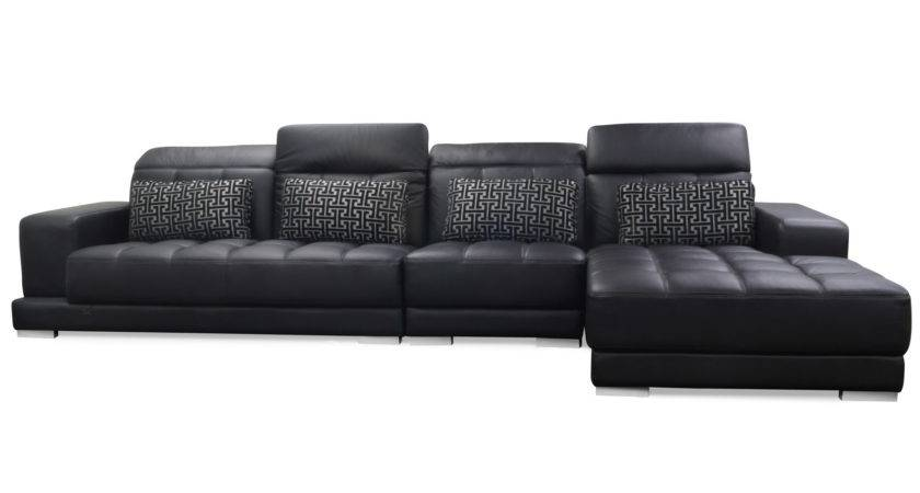 Large Black Leather Sectional Oversized Plush