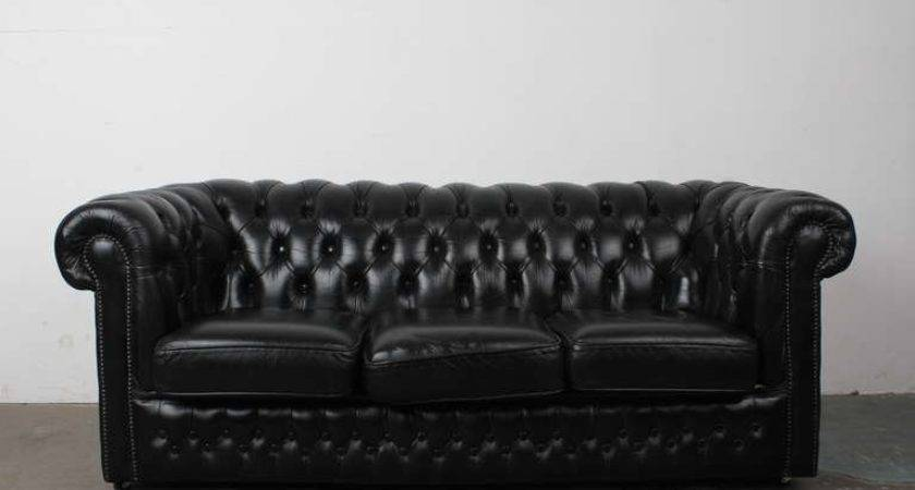 Large Chesterfield Sofa Paxton Black Leather
