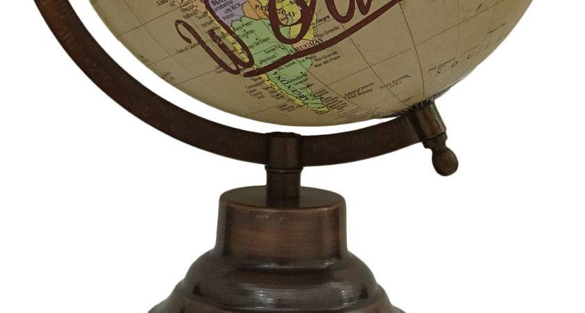Large Decorative Rotating Globe World Geography Beige