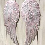 Large Metal Angel Wings Wall Decor Distressed Silver White