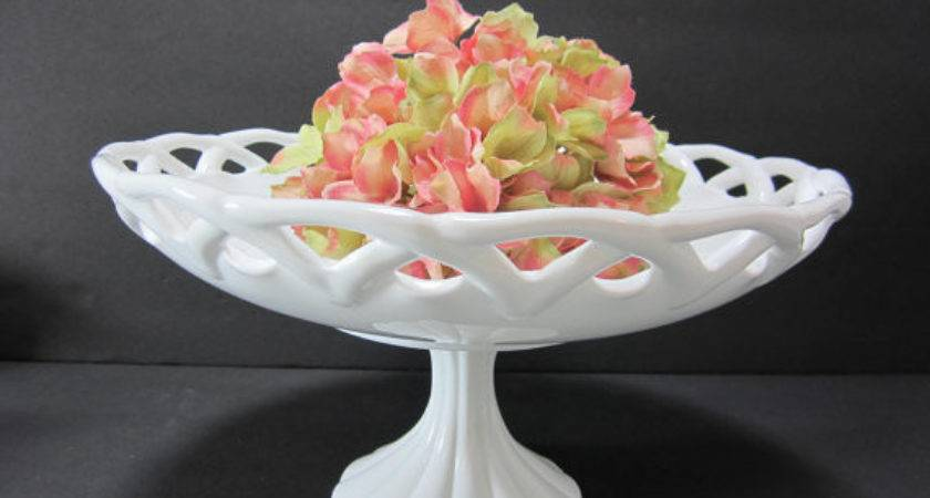 Large Milk Glass Pedestal Bowl Centerpiece