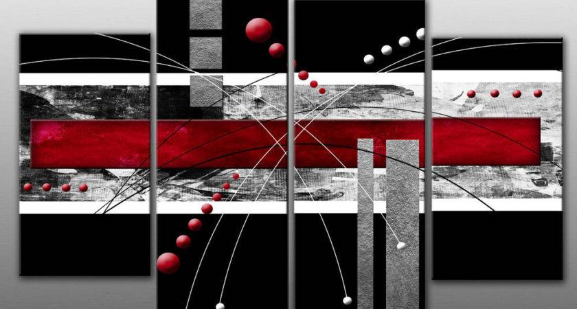 Large Red Black Grey Abstract Canvas Wall Art