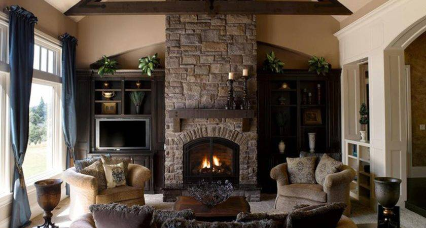 Large Stone Fireplace Home Design