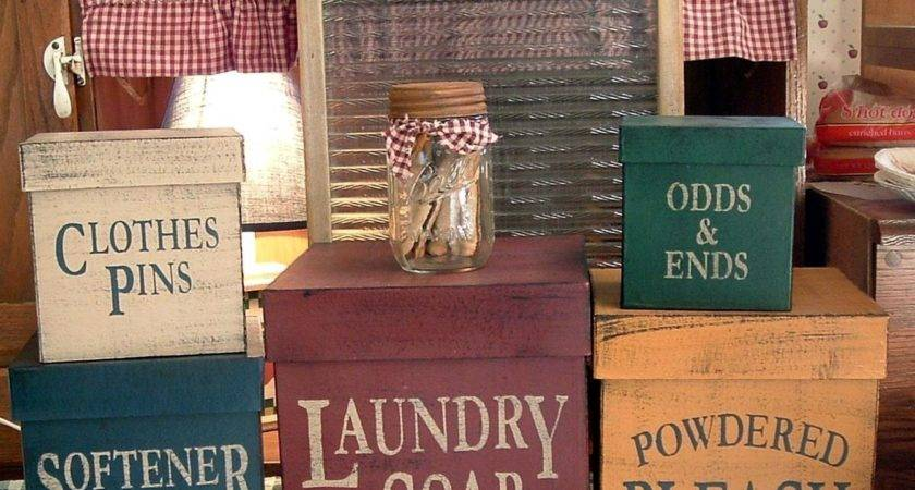 Laundry Room Square Primitive Shaker Boxes Piece Set