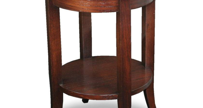 Leick Solid Wood Round Glass Top End Table