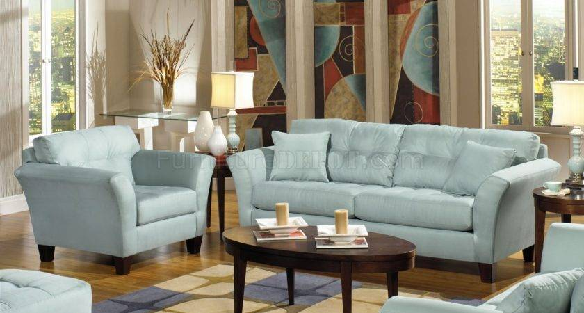 Light Blue Leather Sofa Set Elegant Living Room