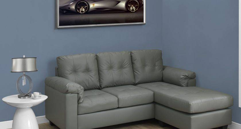 Light Gray Bonded Leather Sofa Lounger Monarch