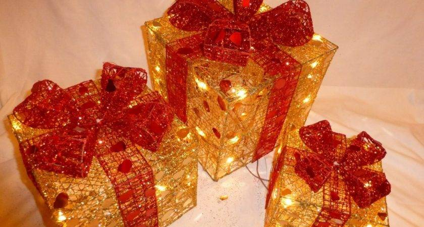 Light Large Gold Red Indoor Pre Lit Christmas Parcel