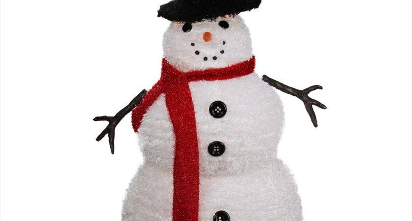 Lighted Chenille Winter Snowman Top Hat