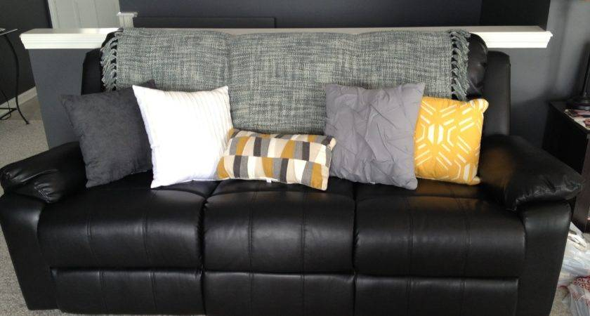 Lighten Black Leather Couch Bright Pillows
