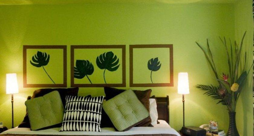 Lime Green Bedroom Wall Painting Decor
