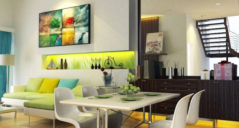 Lime Green White Turquoise Living Dining Room Interior