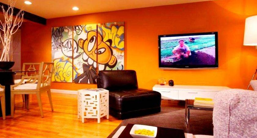 Living Room Awesome Cartoon Wall Art Bachelor Pad