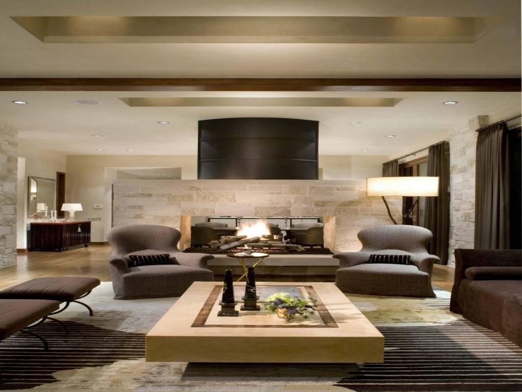 Living Room Brown Sofa Rich Modern Cozy Homes Decor