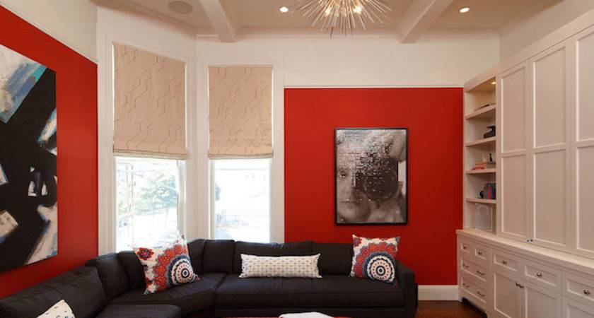 Living Room Decor Red Black Modern House