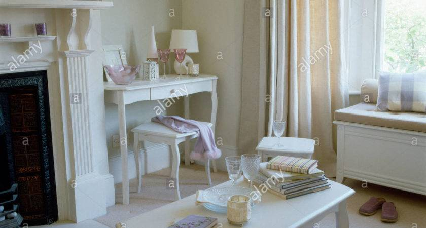 Living Room Decorated Lilac Purple Cream Colour