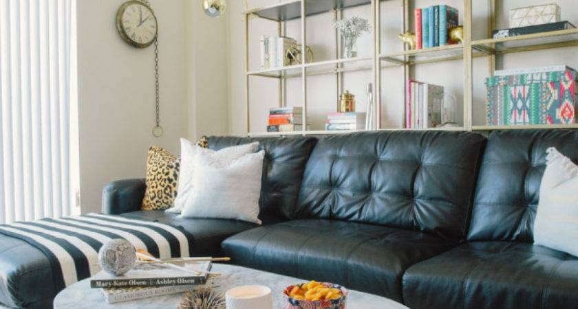Living Room Decoration Black Leather Sofa Home