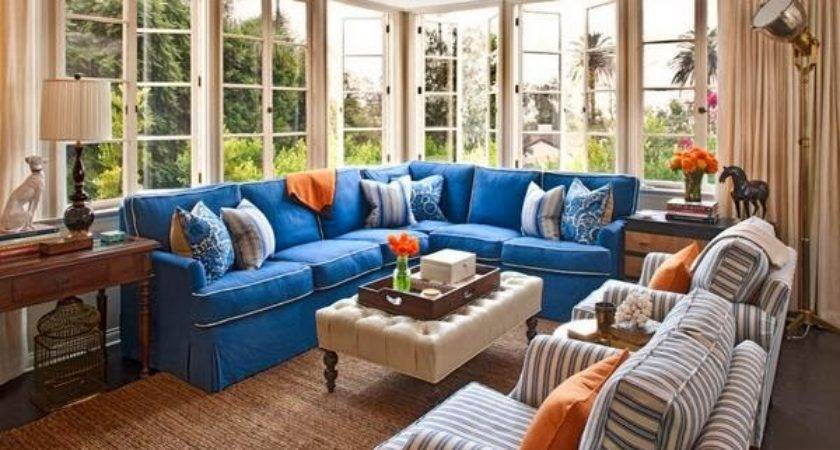 Living Room Design Color Combination Blue Orange Homes Decor
