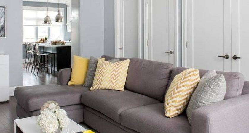 Living Room Grey Sofa Yellow Accents Best