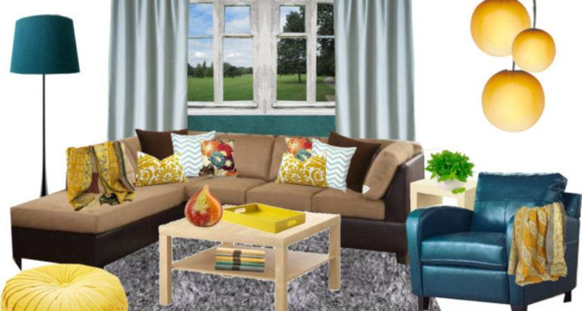 Living Room Idea Yellow Teal Polyvore