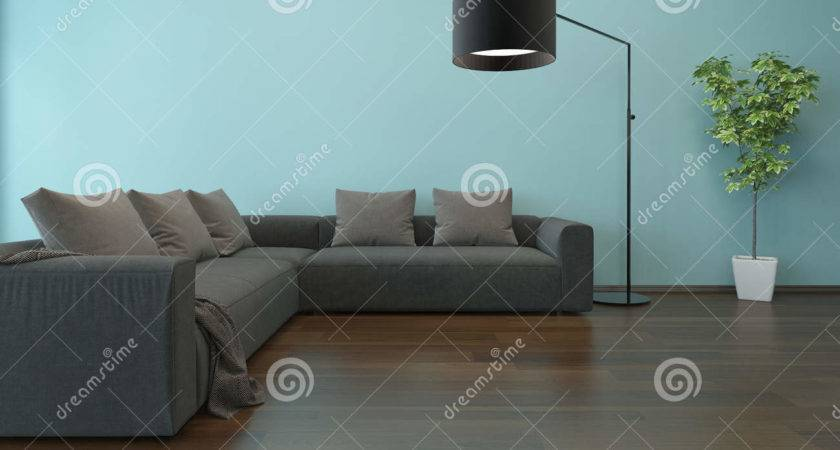 Living Room Interior Blue Wall Gray Couch
