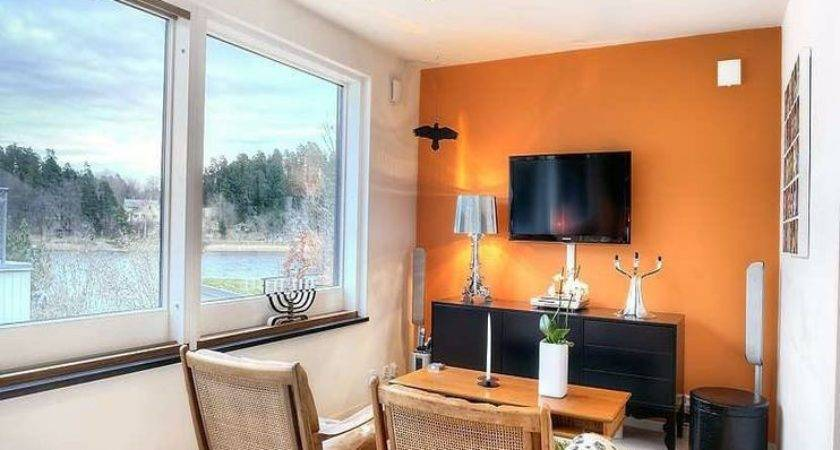 Living Room Outstanding Orange Accent Wall