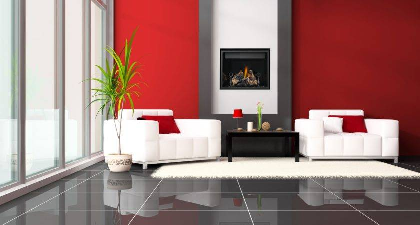 Living Room Red Accent Wall Peenmedia