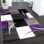 Living Room Rug Purple Black Modern Design Contour Cut