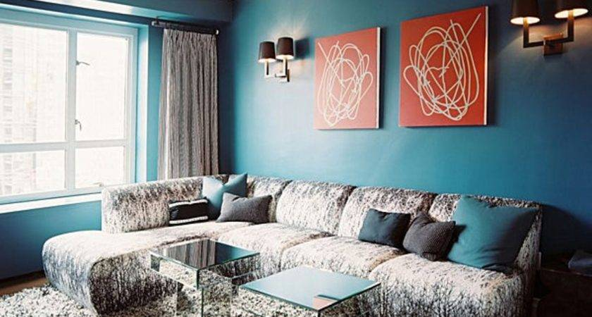 Living Room Teal Walls Black Yellow Red Brown Rooms