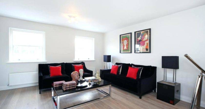 Living Room Well Apointed Black Red White