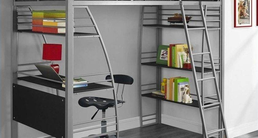 Loft Bunk Bed Over Desk Bookcase Twin Gray