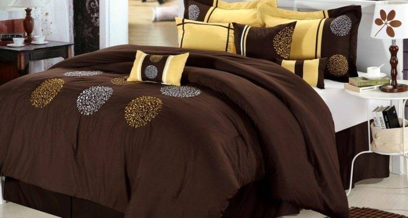 London Brown Yellow Luxury Bedding Set Bed