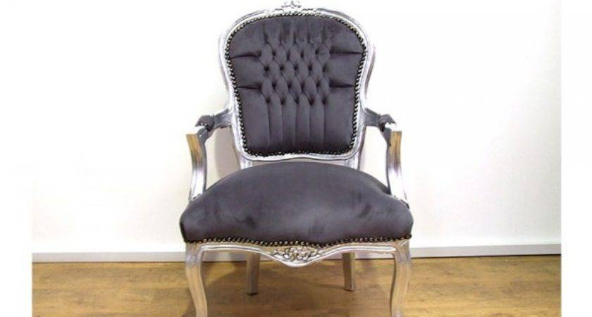 Louis Shabby Chic Chair Grey Fabric Silver Wood