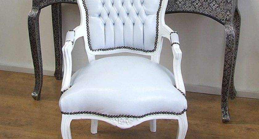 Louis Shabby Chic Chair White Faux Leather