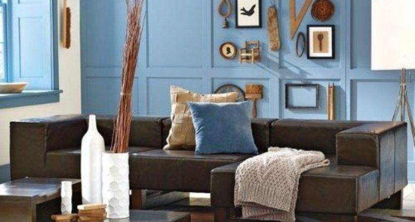 Love Blue Walls Brown Couch Especially Wall