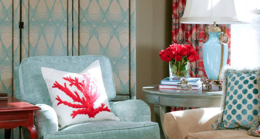 Lovely Red Coral Lamp Shade Decorating Ideas