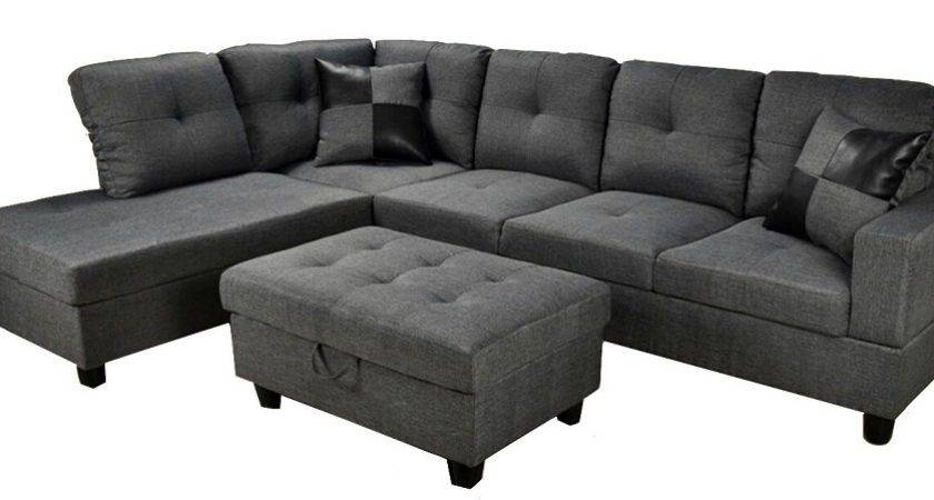 Low Profile Grey Fabric Sectional Sofa Left Arm Chaise