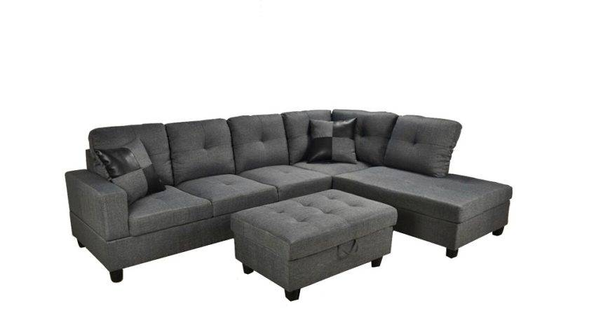 Low Profile Grey Fabric Sectional Sofa Right Arm Chaise