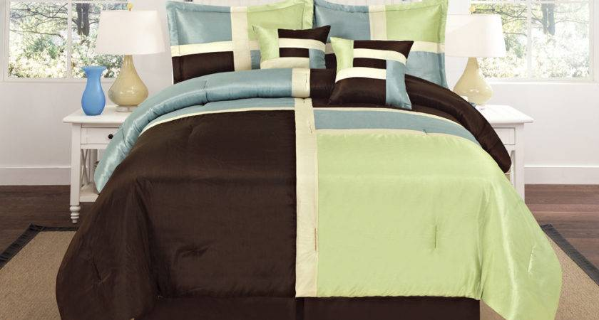 Luxurious Quilted Sage Green Aqua Blue Brown Patchwork