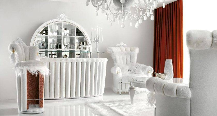 Luxurious White Living Room Interior Red Curtains
